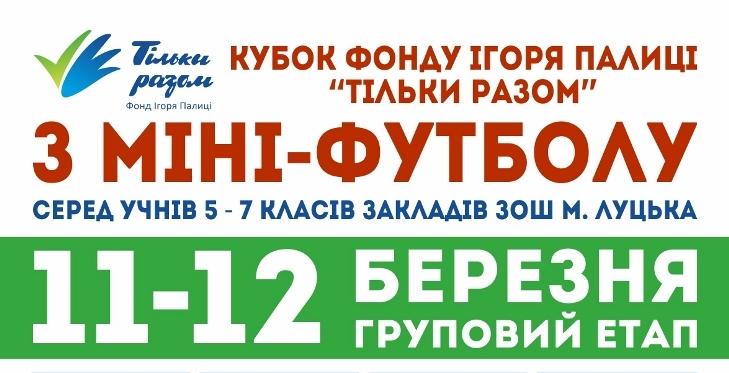 Учні луцьких шкіл змагатимуться за Кубок Фонду Ігоря Палиці «Тільки разом з  міні-футболу 20f69247cbcaa